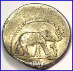Roman Julius Caesar AR Denarius Coin 48 BC Elephant Snake Fine Condition