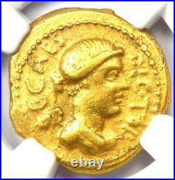 Roman Julius Caesar Gold AV Aureus Coin (45 BC, L. Plancus) Certified NGC VF