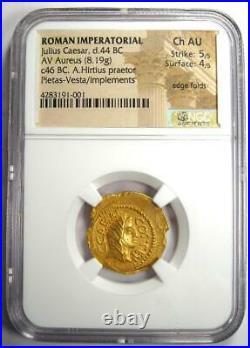 Roman Julius Caesar Gold AV Aureus Coin 46 BC Certified NGC Choice AU (Ch AU)