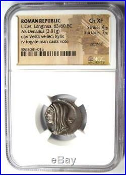 Roman L. Cassius Longinus AR Denarius Vesta Coin 63 BC NGC Choice XF