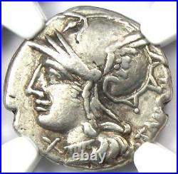 Roman M. Baebius Qf. Tampilus AR Denarius Silver Coin 137 BC Certified NGC VF