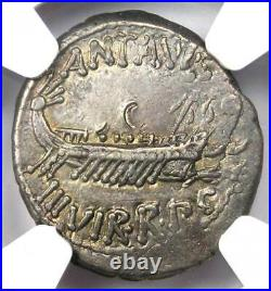 Roman Marc Antony AR Denarius Silver Galley Coin 30 BC Certified NGC XF (EF)