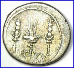 Roman Marc Antony AR Denarius Silver Galley Ship Coin 32 BC Good VF