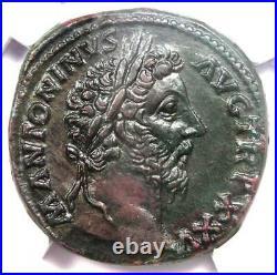Roman Marcus Aurelius AE Sestertius Copper Coin 161-180 AD Certified NGC AU