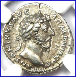 Roman Marcus Aurelius AR Denarius Coin 161-180 AD Certified NGC XF (EF)