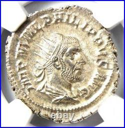 Roman Philip I AR Double Denarius Coin 244-249 AD Certified NGC MS (UNC)