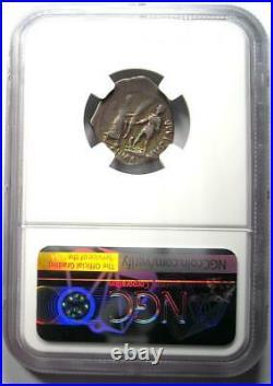 Roman Pompey Junior AR Denarius Silver Coin 45 BC Rainbow Tone NGC VF