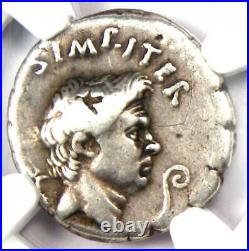 Roman Pompey Magnus AR Denarius Silver Coin 42-40 BC Certified NGC Choice Fine