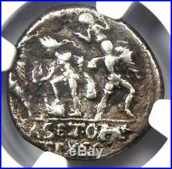 Roman Pompey Magnus AR Denarius Silver Coin 42 BC Certified NGC VF (Plugged)