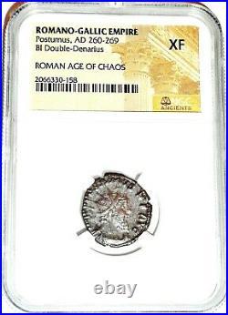 Roman Postumus Antoninianus Bronze Double Denarius Coin NGC Certified XF & Story