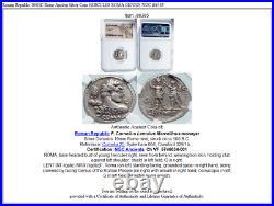 Roman Republic 100BC Rome Ancient Silver Coin HERCULES ROMA GENIUS NGC i86385