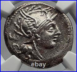 Roman Republic 100BC Rome Fights Barbarian Battle Ancient Silver Coin NGC i60185