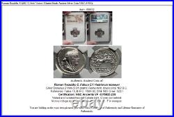 Roman Republic 102BC Cybele Victory Chariot Stork Ancient Silver Coin NGC i59832