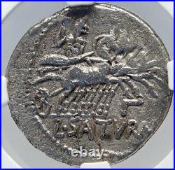 Roman Republic 104BC Rome Ancient Silver Coin ROMA SATURN CHARIOT NGC i82613