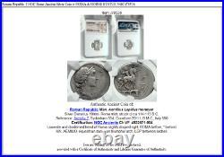 Roman Republic 114BC Rome Ancient Silver Coin w ROMA & HORSE STATUE NGC i78536