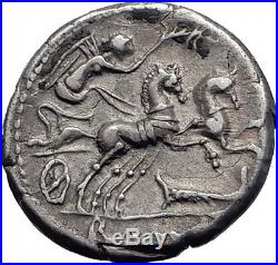 Roman Republic 115BC ROME Authentic Ancient Silver Coin VICTORY CHARIOT i63934