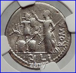 Roman Republic 119BC Rome Authentic Ancient Coin JANUS & ROMA TROPHY NGC i62063
