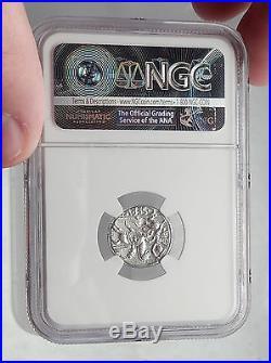 Roman Republic 127BC Rome HORSE BATTLE Ancient Silver Roman Coin NGC XF i62952