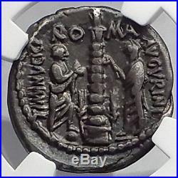 Roman Republic 134BC Rome Lower GRAIN Cost Statue Ancient Silver Coin NGC i59906