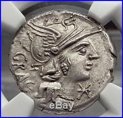 Roman Republic 136BC Roma Jupiter Chariot Ancient Silver Coin NGC Ch AU i58170