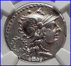 Roman Republic 136BC Rome Dioscuri Gemini Twins Ancient Silver Coin NGC i62456