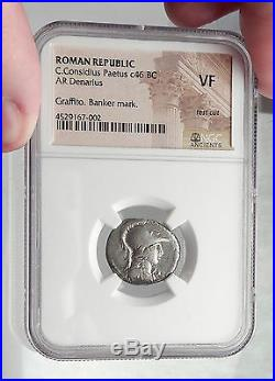 Roman Republic 46BC Authentic Ancient Silver Coin MINERVA VICTORY NGC i61915