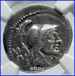 Roman Republic 76BC Rome Ancient Silver Coin MARS ARIES ZODIAC RAM NGC i78638