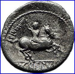 Roman Republic 82BC Apollo Stork Horse Authentic Ancient Silver Coin i59223