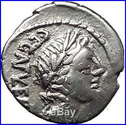 Roman Republic 97BC Quinarius Apollo Victory Trophy Ancient Silver Coin i55496