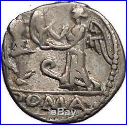Roman Republic 97BC Quinarius Apollo Victory Trophy Ancient Silver Coin i57351