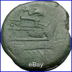 Roman Republic Anonymous 179BC Janus Galley Ship Ancient Roman Coin i48785