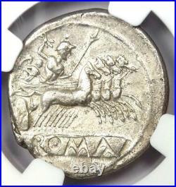 Roman Republic Anonymous AR Quadrigatus Dioscuri Janiform Coin 225 BC NGC AU