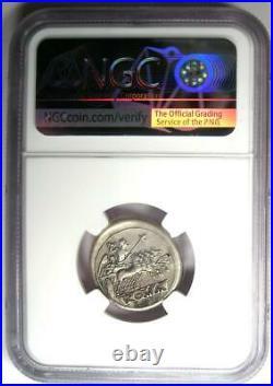 Roman Republic Anonymous AR Quadrigatus Dioscuri Janiform Coin 225 BC. NGC XF