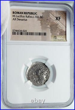 Roman Republic Authentic Ancient 101BC Rome Silver Coin ROMA CHARIOT NGC i86042