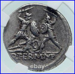 Roman Republic Authentic Ancient Silver 103BC Rome Coin BATTLE SCENE NGC i86625