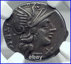Roman Republic Authentic Ancient Silver Roman Coin DIOSCURI GEMINI NGC i77877