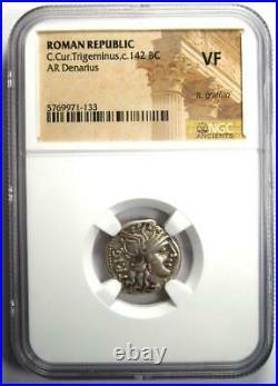 Roman Republic C. Cur. Trigeminus AR Denarius Coin 142 BC Certified NGC VF