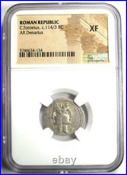 Roman Republic C. Fonteius AR Denarius Silver Coin 113 BC Certified NGC XF