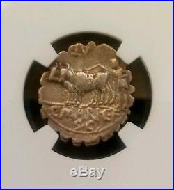 Roman Republic C. Mar. Capito Denarius Serratus NGC VF Ancient Silver Coin