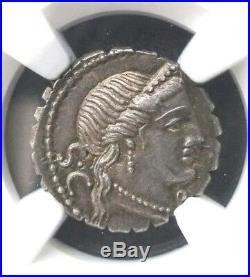 Roman Republic C. Naevius Balbus Denarius Serratus NGC Choice AU Ancient Coin