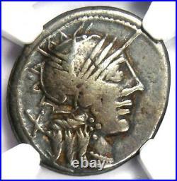 Roman Republic C. Porcius Cato AR Denarius Coin 123 BC Certified NGC Choice Fine