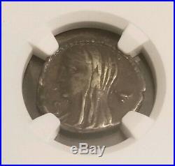 Roman Republic Cassius Longinus Denarius NGC VF 5/2 Ancient Silver Coin
