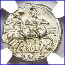 Roman Republic Cn. Lucret Trio AR Denarius Coin 136 BC Certified NGC MS (UNC)