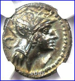 Roman Republic D. Silanus Lf. AR Denarius Roma, Horses Coin 91 BC. NGC Choice AU