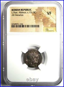 Roman Republic L. Post. Albinus AR Denarius Coin 131 BC Certified NGC VF