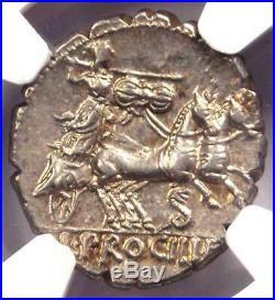 Roman Republic L. Procilius AR Denarius Serratus Coin 80 BC NGC Choice AU
