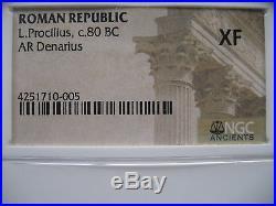 Roman Republic L. Procilius c. 80 BC AR Denarius NGC XF Ancient Silver Coin
