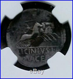 Roman Republic Licinius L. F. Macer Denarius NGC VG Ancient Silver Coin