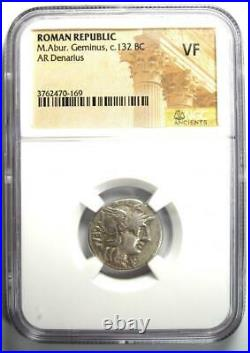 Roman Republic M. Abur. Geminus AR Denarius Coin 132 BC Certified NGC VF