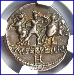 Roman Republic M. Servilius C. F. AR Denarius Roma, Horses Coin 100 BC NGC XF